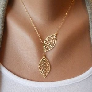 Jewelry - Two Leaf Leaves Pendant Necklace